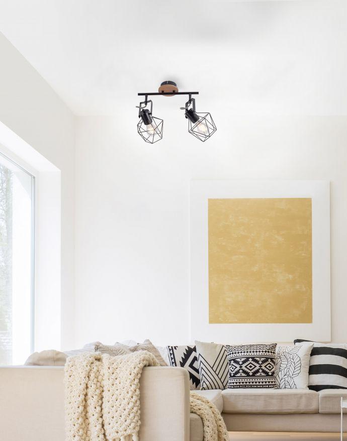 Deckenleuchte, Holz, Metall, Vintage Stil, verstellbare Leuchtenspots