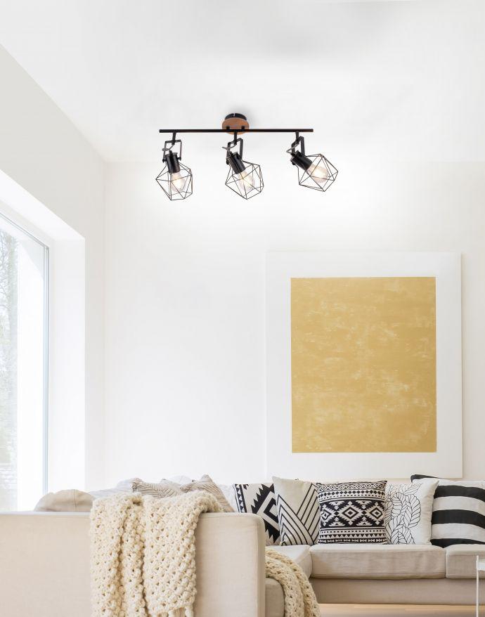 Deckenleuchte, Holz, Metall, modern, Vintage Stil, verstellbare Spots