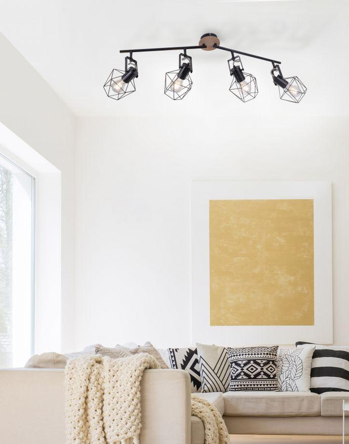 Deckenleuchte, Holz, Metall, modern, rustikales Design, schwenkbar, Vintage