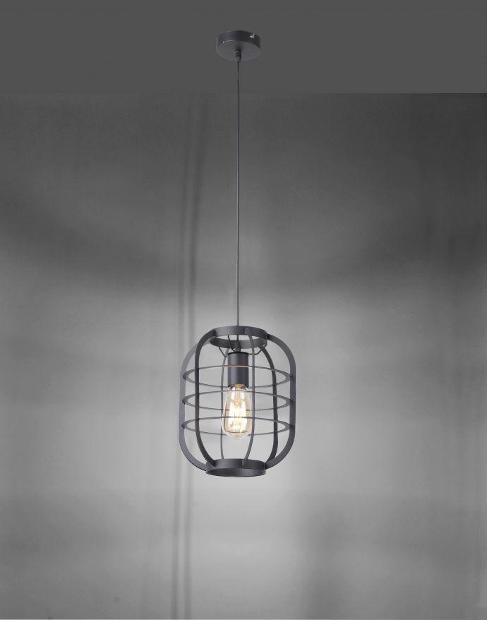 Pendelleuchte, schwarz, rustikal, Industrial-Stil, E27, modern. Cage