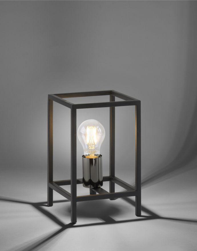Tischleuchte, schwarz, modern, Retro-Stil, inkl. Schnurschalter, Cage-Optik
