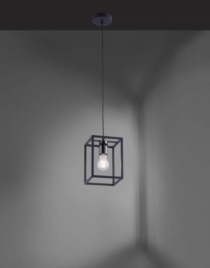 Pendelleuchte, schwarze Cage-Optik, modern, Retro-Stil, E27 Fassung, eckig