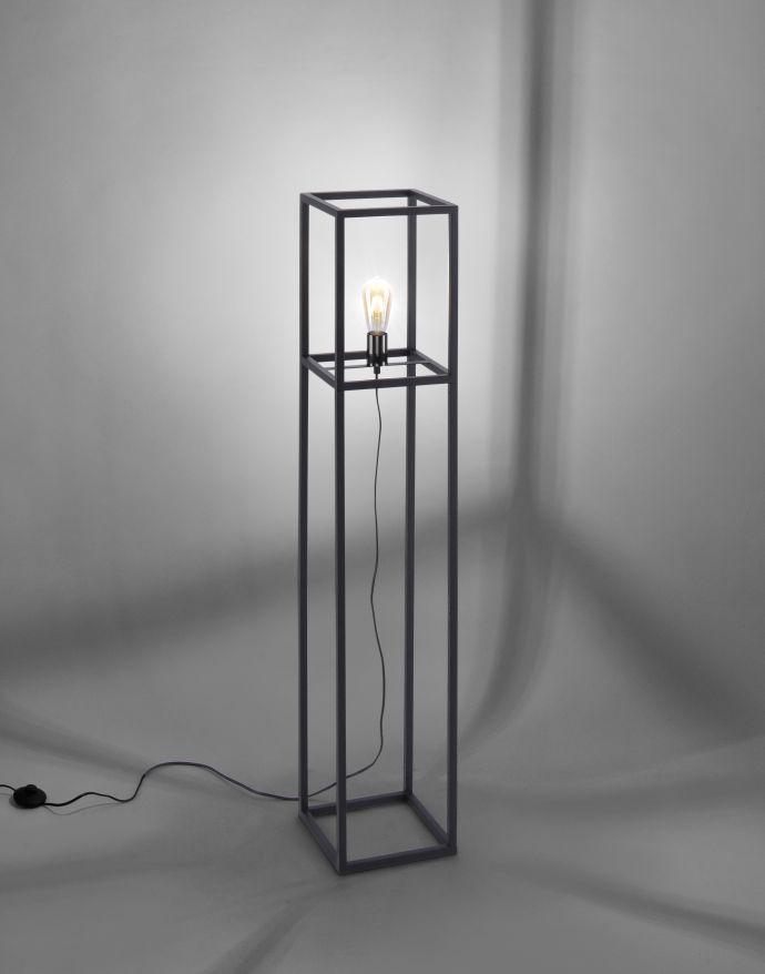 Stehleuchte, schwarz, Retro-Stil, moderne Cage-Optik, inkl. Fußschalter