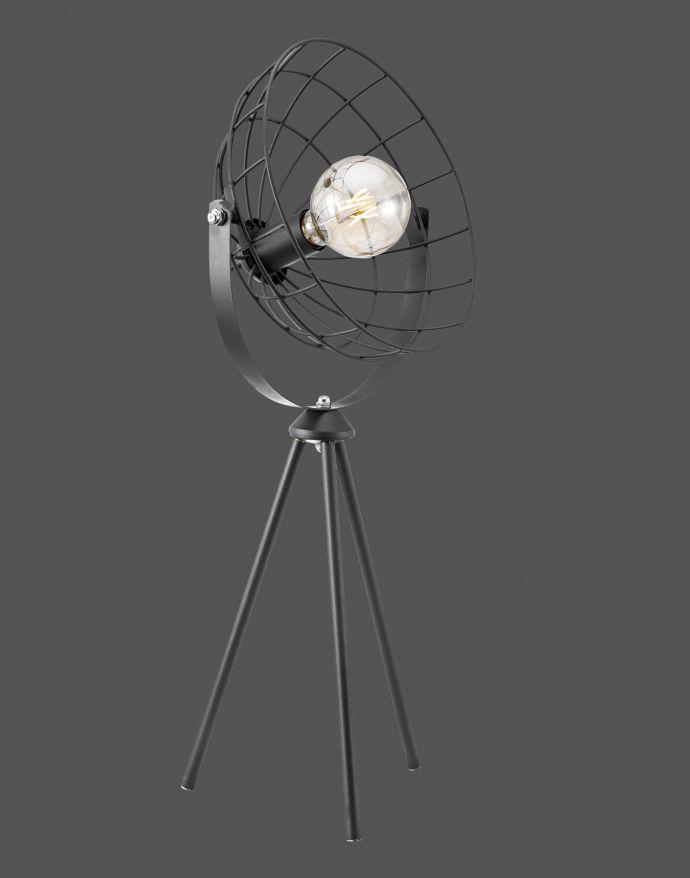 Tischleuchte, schwarz, Retro Design, mit Cage-Optik, Drahtgestell