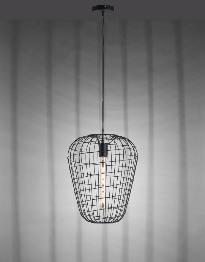 Pendelleuchte, Industrial Design, schwarz, Cage-Optik, höhenverstellbar