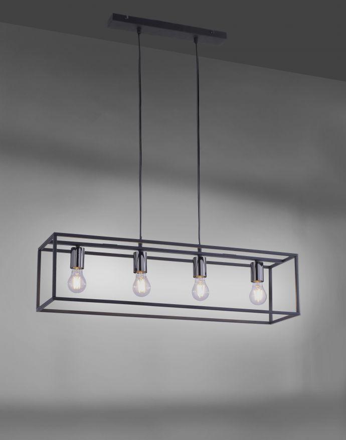 Pendelleuchte, 4-flammig, schwarz, Retro-Design, E27 Fassung, modern