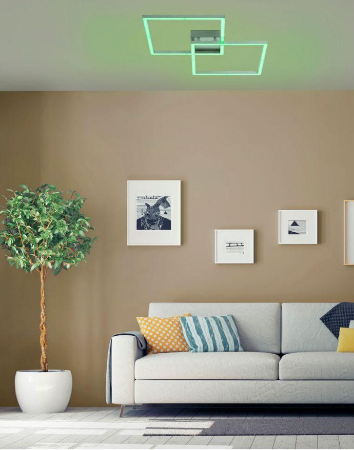 LED Deckenleuchte stahlfarben, quadratisch, Smart Home fähig, dimmbar, Fernbedienung