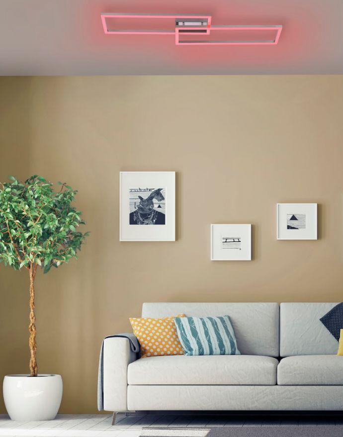 LED Deckenleuchte stahlfarben und quadratisch, im Geometric Look Smart Home fähig