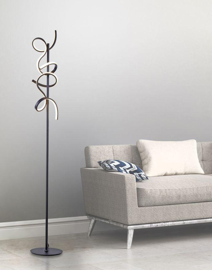 LED Stehleuchte, schwarz, geschwungenes Design, dimmbar, modern