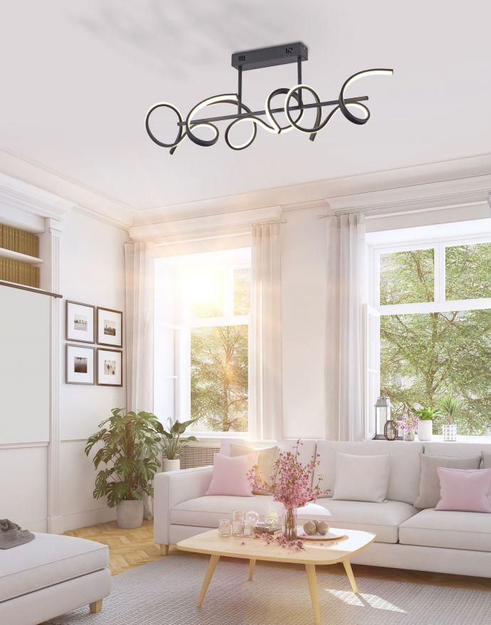 LED Deckenleuchte, schwarz, modern, geschwungenes Design, Dimmfunktion