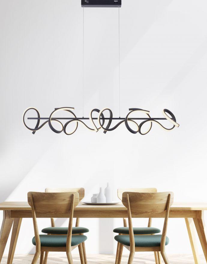 LED Pendelleuchte, schwarz, geschwungenes Design, Dimmfunktion, modern