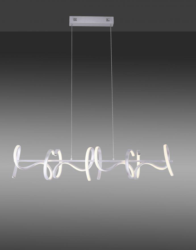 LED-Pendelleuchte, silberfarben, 4 geschwungene Leuchtarme, Dimmfunktion