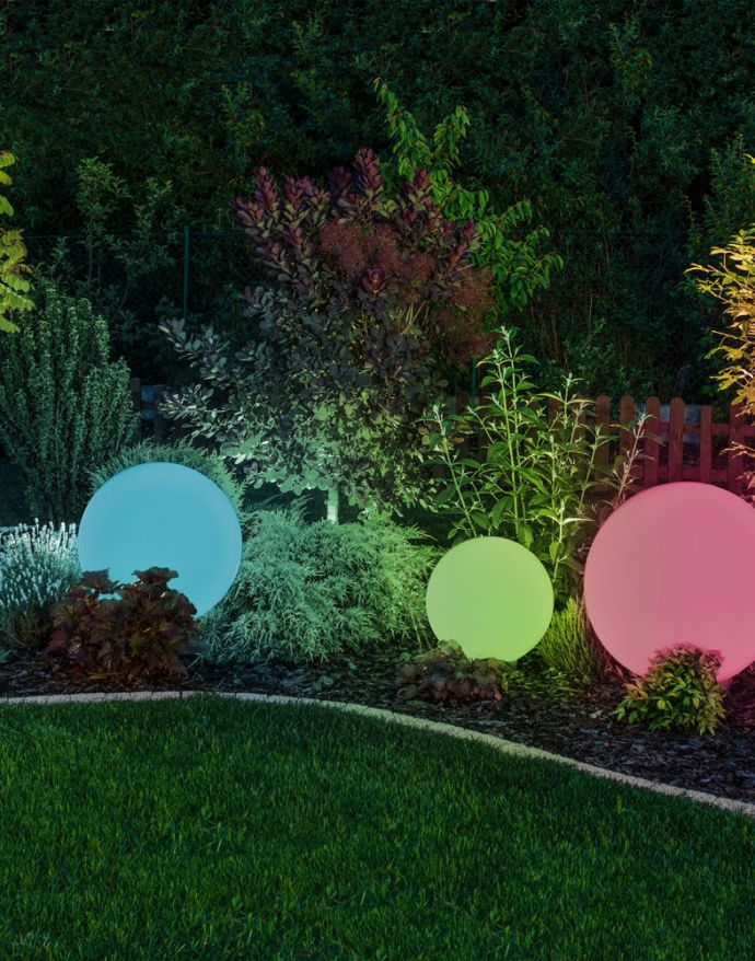 Kugelleuchten 4er Set Ø 20, 30, 40, 50cm, Smart Home, RGB Farbwechsel, dimmbar