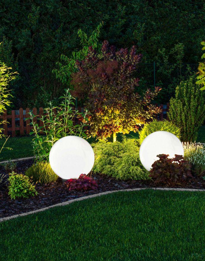 Kugelleuchte Ø 40cm, Smart Home, IP44, RGB Farbwechsel, dimmbar, Erdspieß
