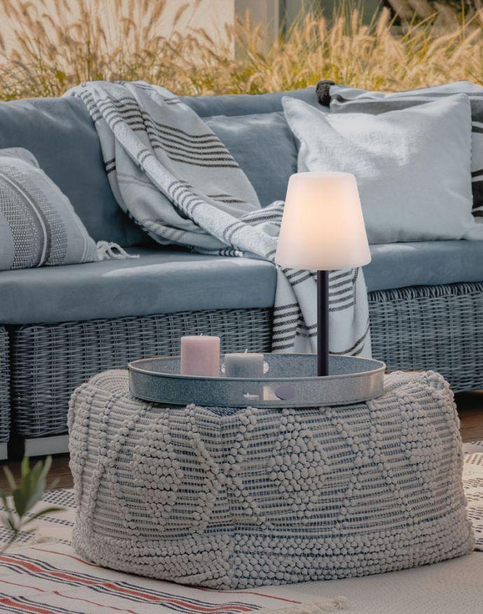 LED Tischleuchte, schwarz, dimmbar, modern, inkl. Zugschalter, kabellos