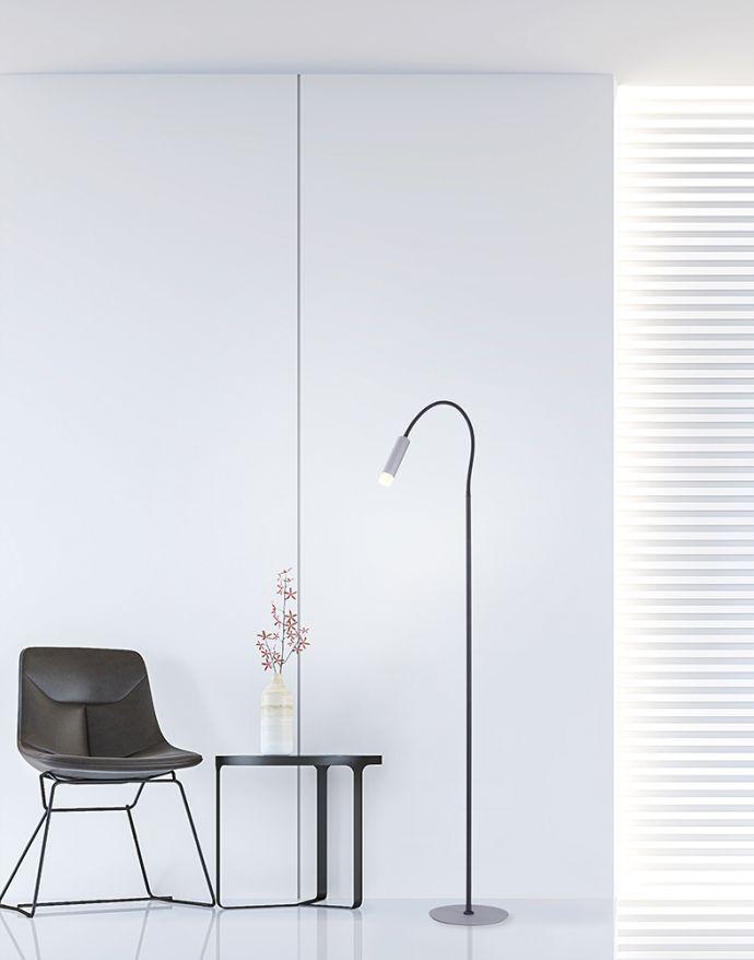PURE-GEMIN, LED-Stehleuchte, schwarz, flexibel, puristisches Design
