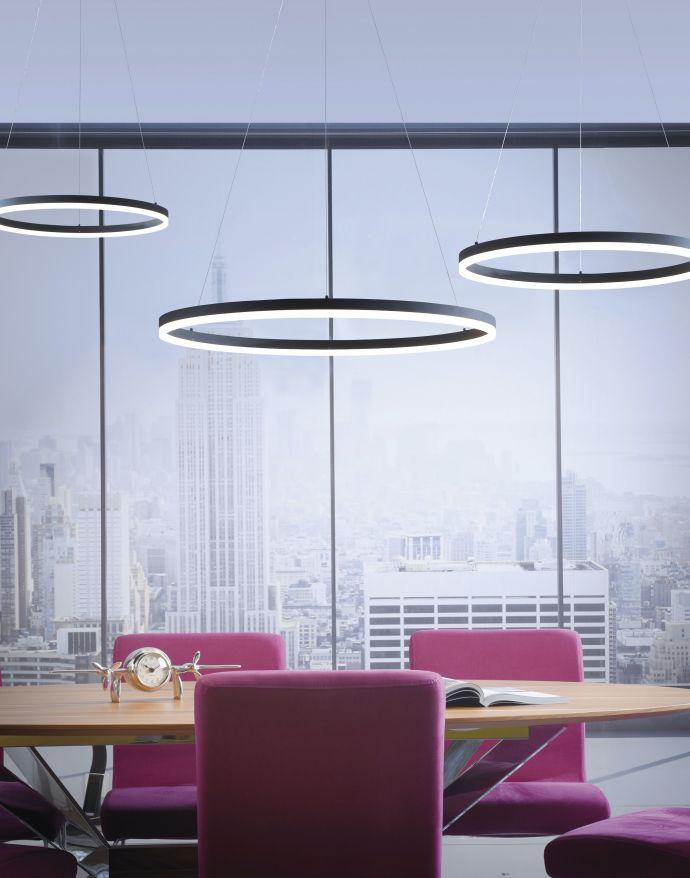 LED Pendelleuchte, anthrazit, runde Form, dimmbar, Memory Funktion, modern