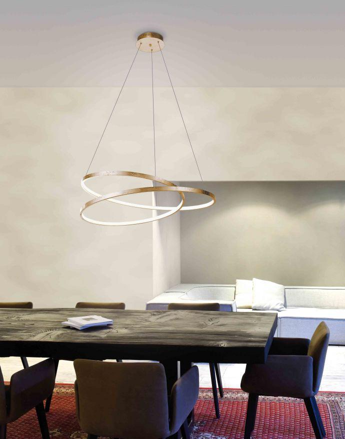 LED-Pendelleuchte, gold, warmweiße Lichtfarbe, inkl. Dimmfunktion, modern