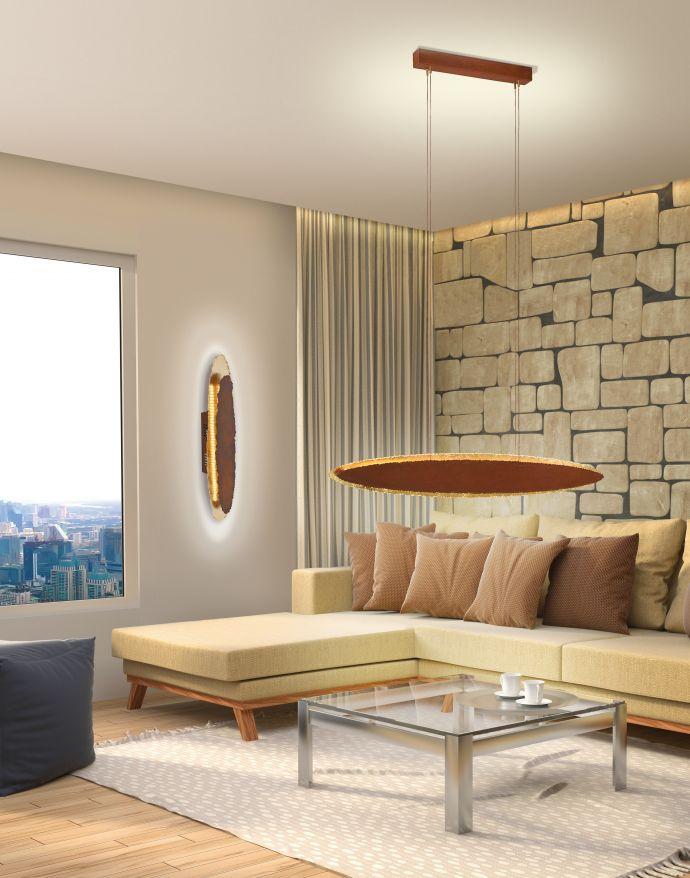 LED-Pendelleuchte, rostfarben, Goldoptik, dekorativ, elegant