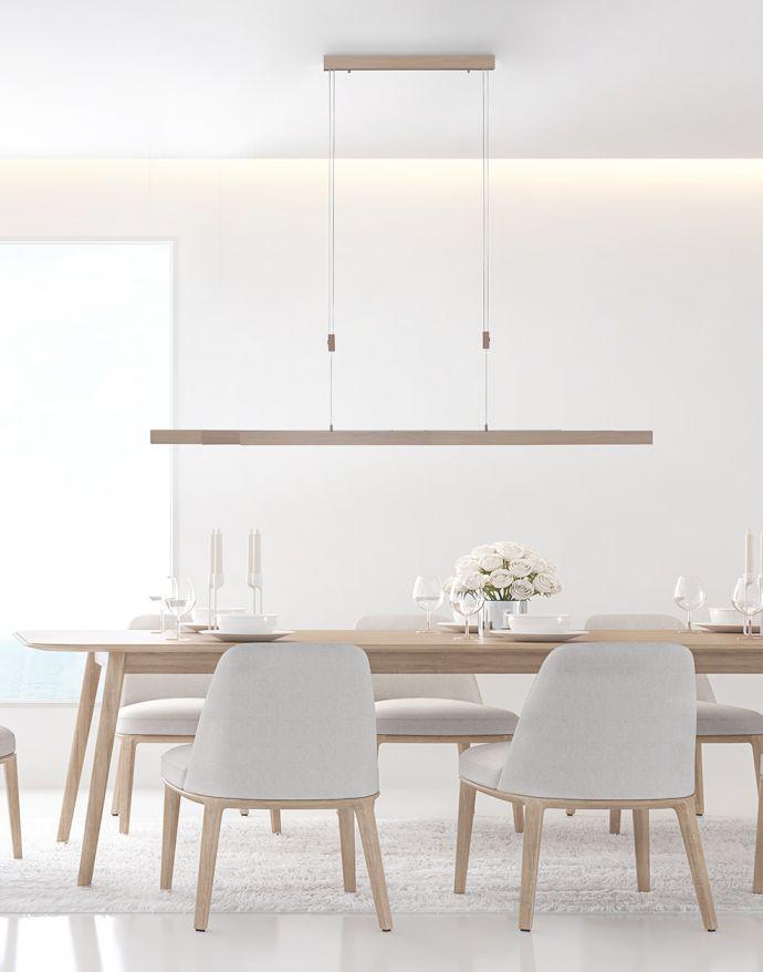 LED Pendelleuchte, Holzdekor-Optik, Lichtfarbensteuerung (CCT), ausziehbar