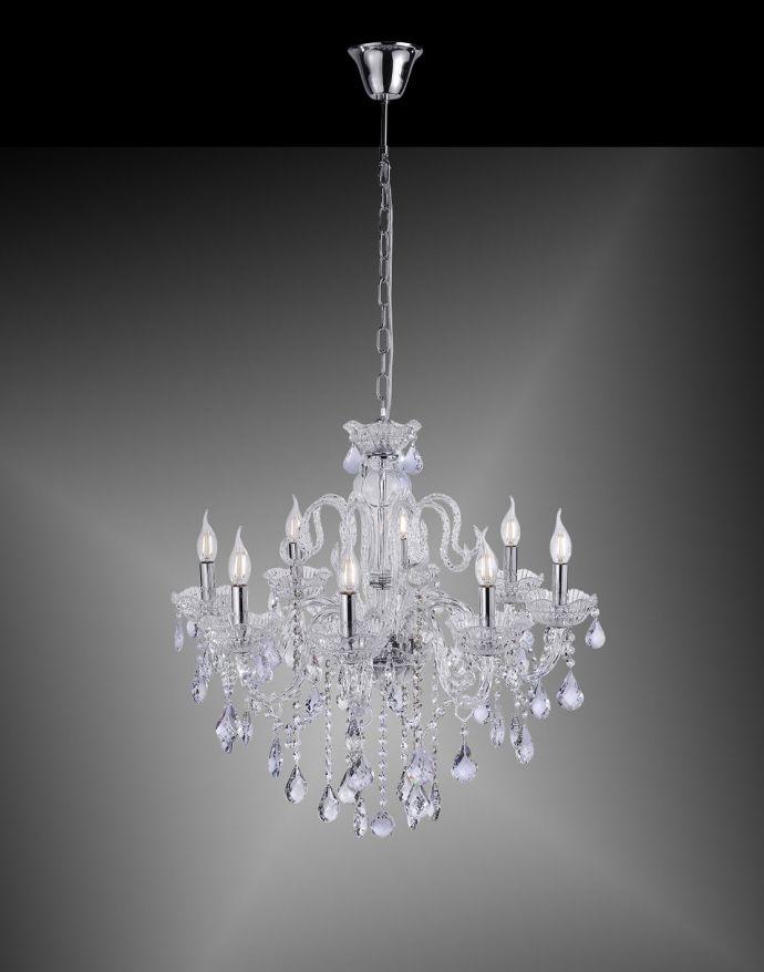 Kronleuchter, Transparent, 8 Leuchtköpfe, Kristallanhänger, E14 Fassung,