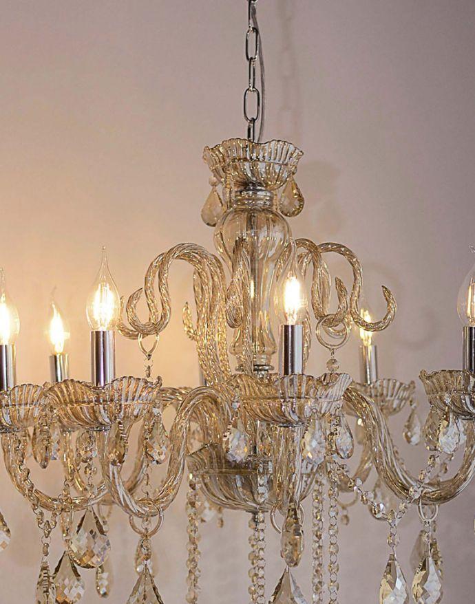Kronleuchter, champagner, 8 Leuchtköpfe, Kristallanhänger, E14 Fassung