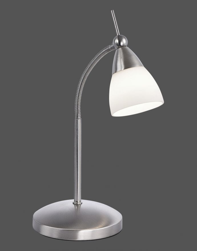 LED-Tischleuchte, stahlfarben, dimmbar, blendfreies Licht, verstellbar