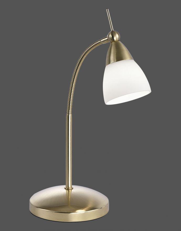LED-Tischleuchte, messing-matt, Flexarm, blendfrei, Opalglas, Touchdimmer