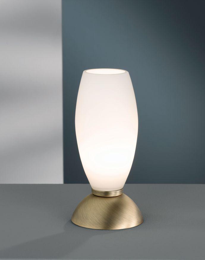 LED-Tischleuchte, altmessing, warmweiße Lichtfarbe, Touchdimmer, blendfrei