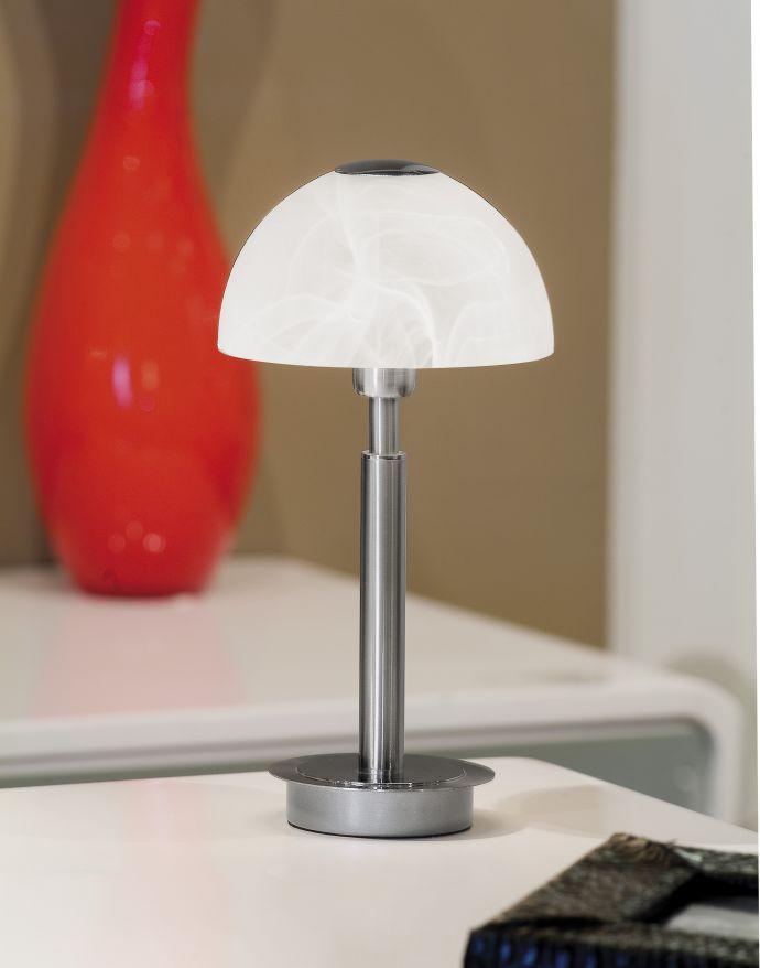 Tischleuchte, Edelstahl,  Albasterglas warmweißes Licht, inkl. Touchdimmer