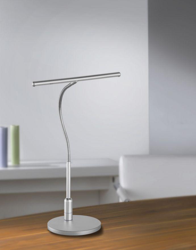 LED-Tischleuchte, Flexarm, Touchschalter, Orientierungslicht, silber