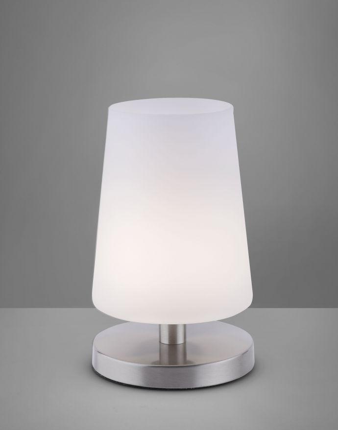 LED-Tischleuchte, weiß-stahl, mit dezentem Lampenschirm, inkl. Touchdimmer