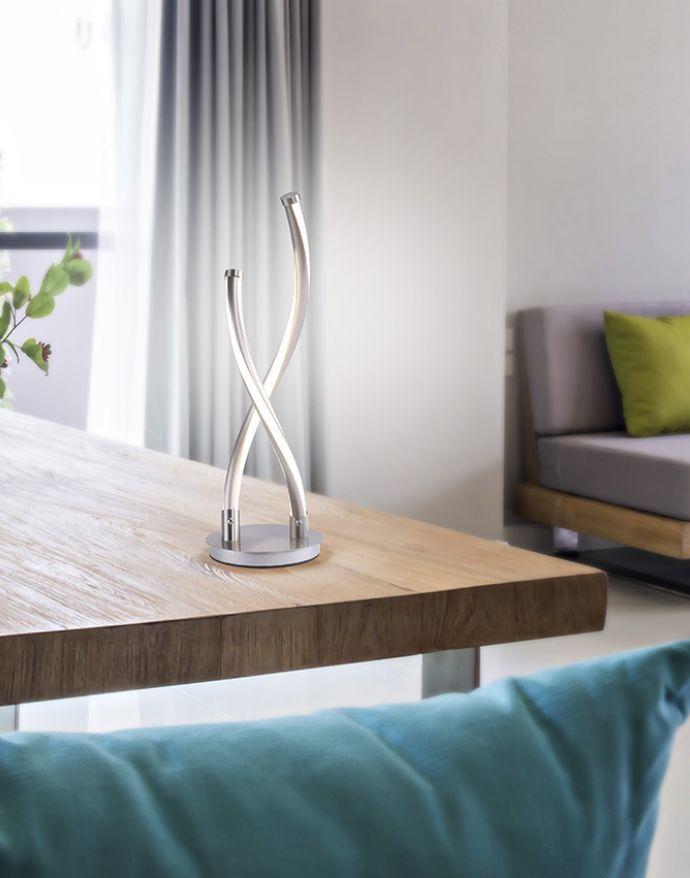 Paul Neuhaus, Q-MALINA, LED-Tischleuchte, geschwungenes Design, dimmbar, Smart-Home