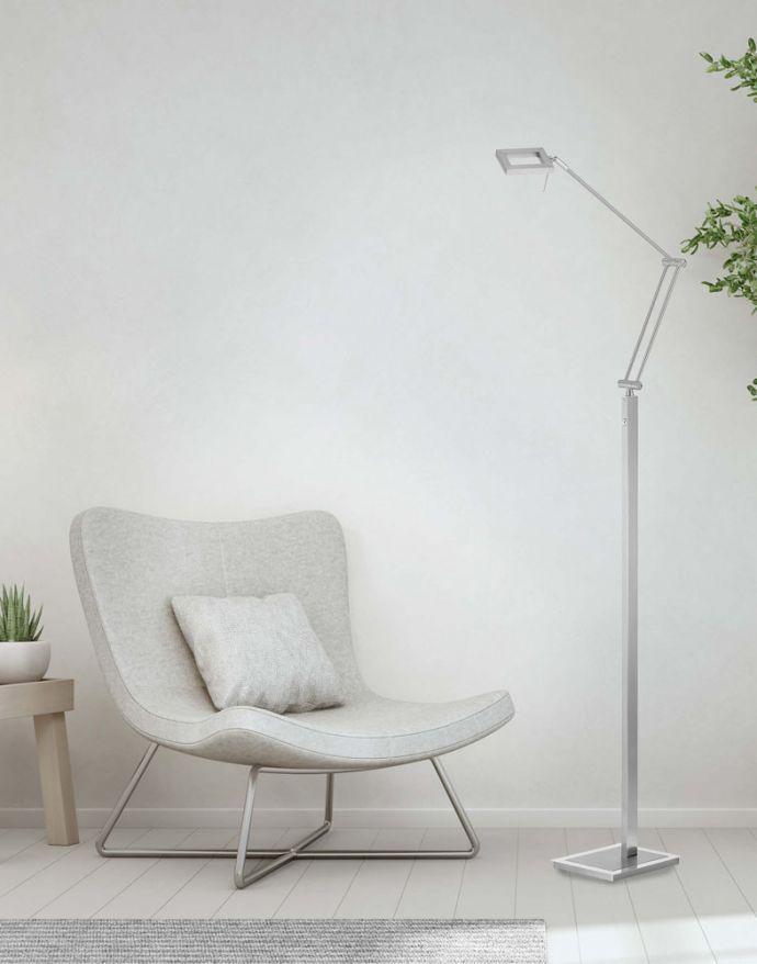 LED-Stehleuchte, stahl, verstellbarer Lesearm, warmweiß, inkl. Touchdimmer