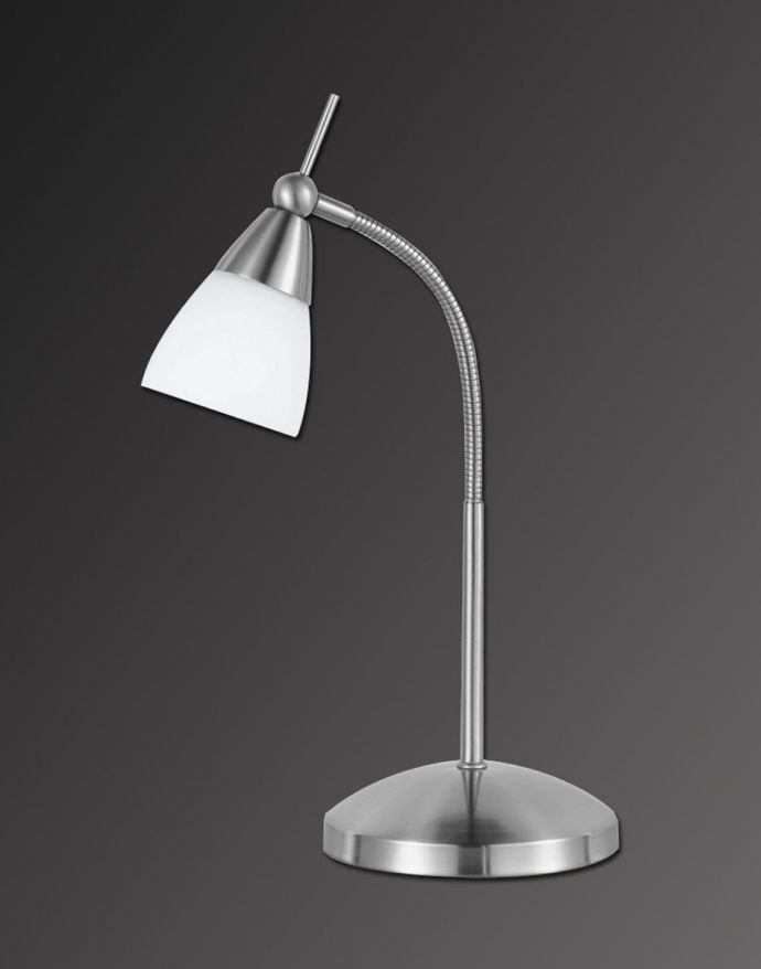 Tischleuchte, silber, verstellbarer Leuchtkopf, inkl. Touchdimmer, Opalglas