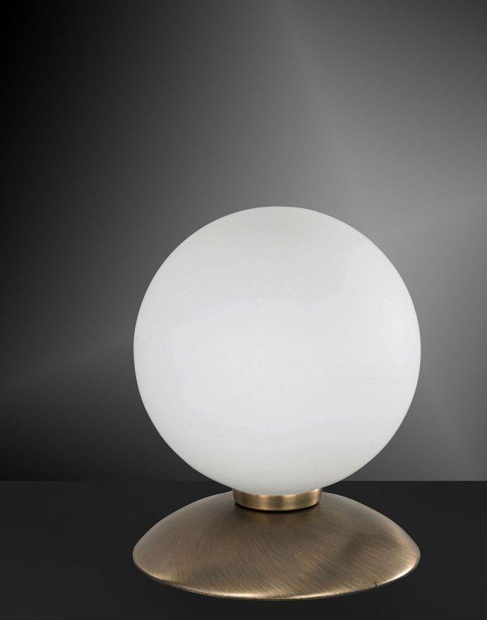Kugellampe, altmessing, Tischleuchte, inkl. Touchdimmer, Opalglas, blendfrei