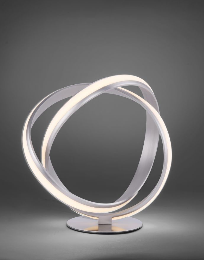 LED-Tischleuchte, stahlfarben, kreisrunde Form, inkl. Dimmfunktion, modern