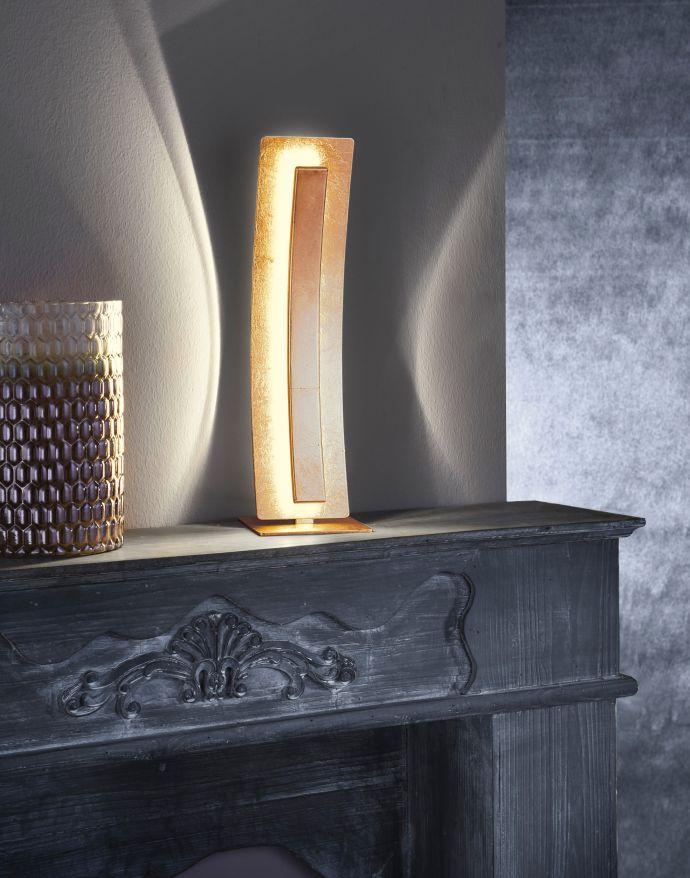 LED-Tischleuchte, Blattgoldoptik, warmweiß, inkl. Schnurschalter, blendfrei