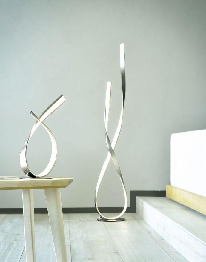 LED-Tischleuchte, 2 verdrehte Leuchtarme, inkl. Schnurdimmer, modern