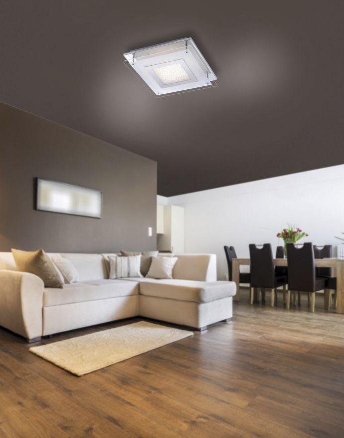 LED Deckenleuchte, quadratisch, teilsatiniertes Glas, Glitzer-Effekt,