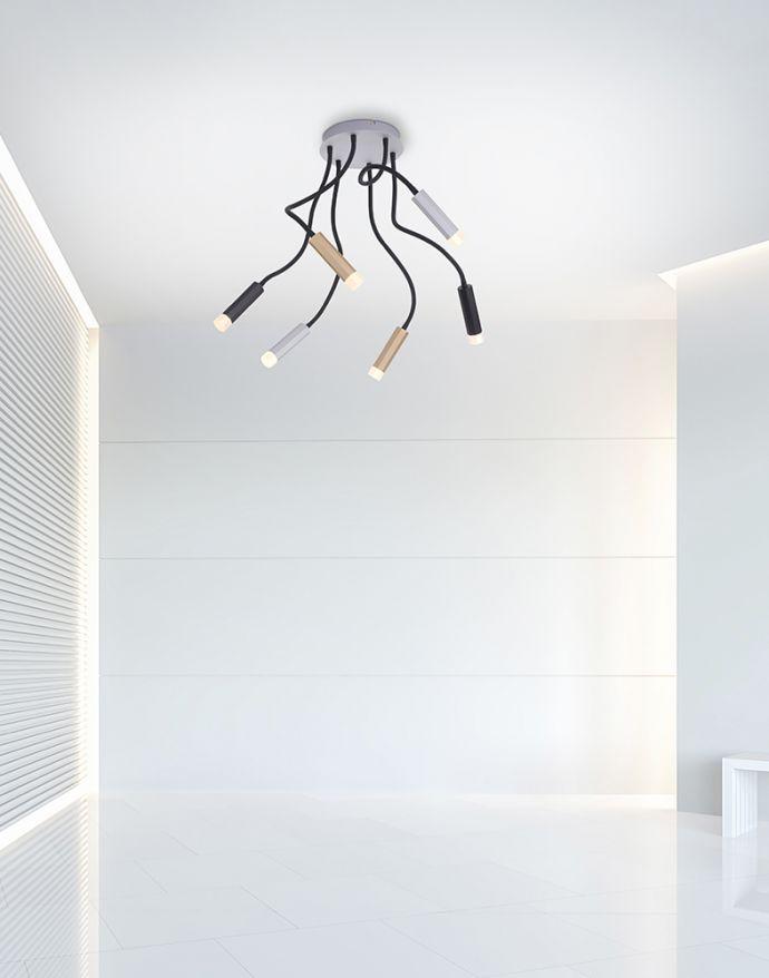 PURE-GEMIN, LED-Deckenleuchte, aluminium, gebürstet, Leuchtenköpfen verstellbar