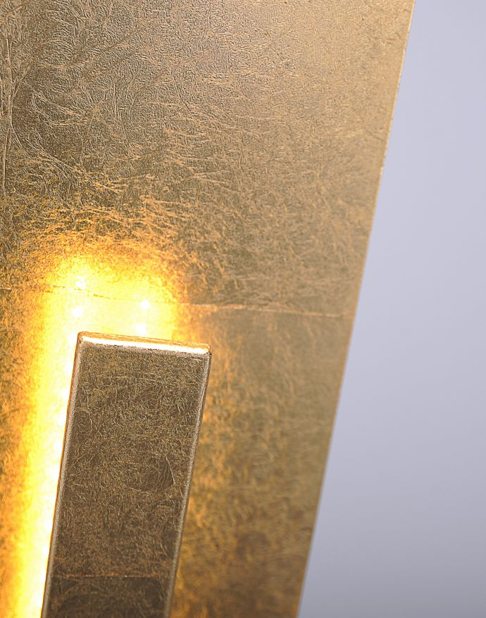 LED-Stehleuchte, Blattgoldoptik, warmweiße Lichtfarbe, blendfrei, modern