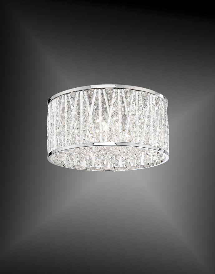 LED-Deckenleuchte, Chrom, Kristalloptik, Glitzereffekt, Ø29,5 cm