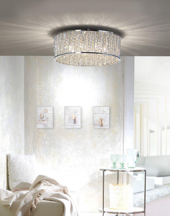 LED-Deckenleuchte, chrom, G9 Fassung, Ø 48cm, Kristall, Diamanten