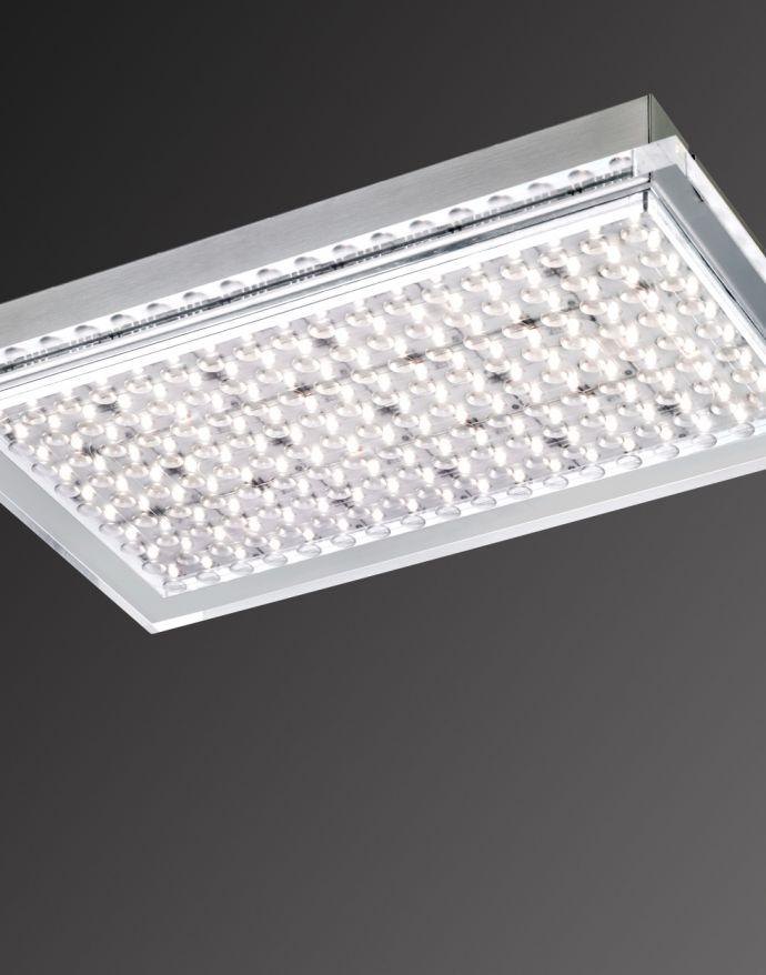 LED Deckenleuchte, silber,  Acryl-Glas, rechteckig, Inustrie Stil
