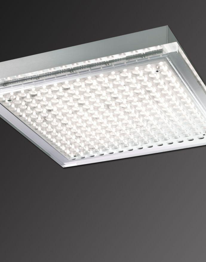 LED Deckenleuchte, stahlfarben, quadratisch,  Acrylglaseinsatz, modern
