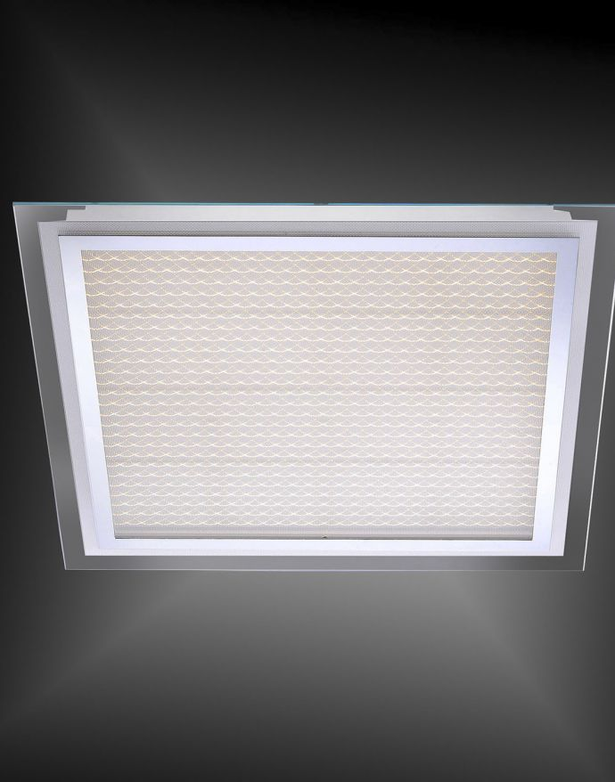 LED Deckenleuchte, Chrom, 56,5x56,5cm, blendfrei, flach