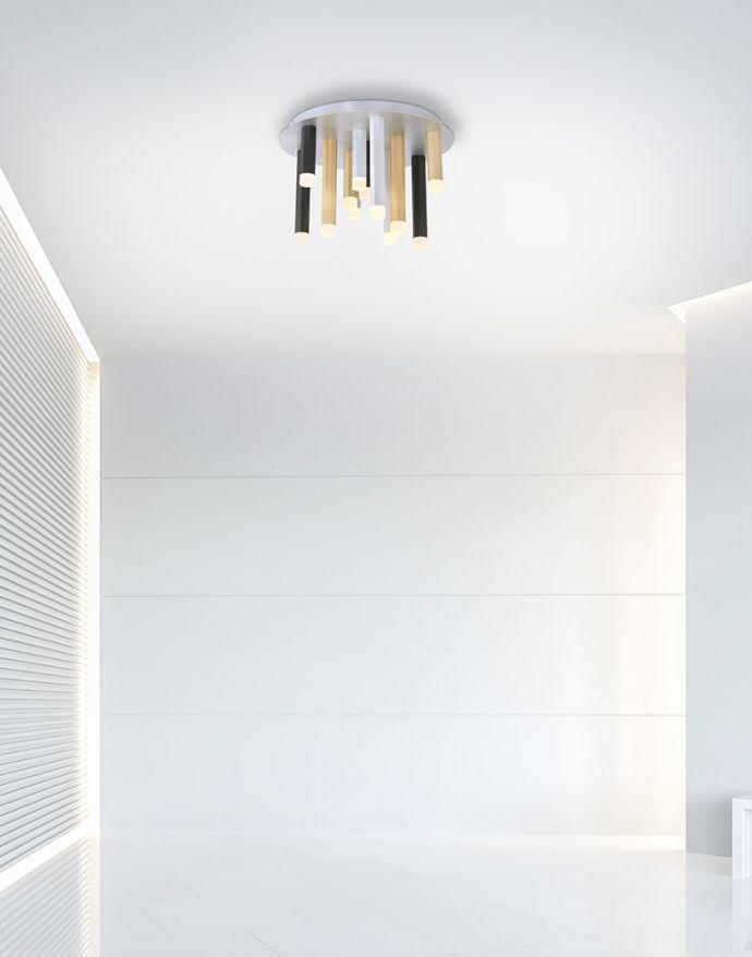 PURE-GEMIN, LED-Deckenleuchte, puristisches Design, gebürstet,  Aluminium