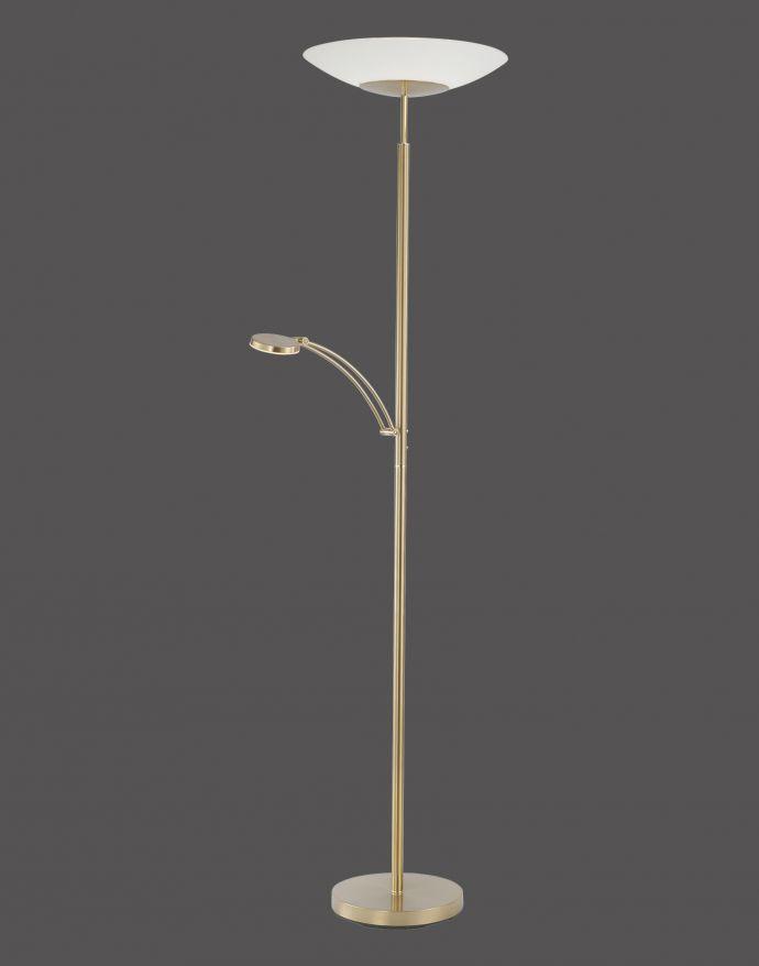 LED Stehleuchte, messing matt, inkl. Leselampe, inkl. Tastdimmer, modern