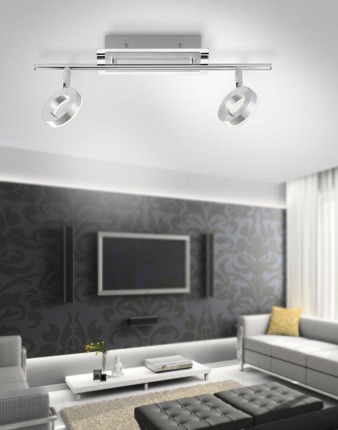 LED-Deckenstrahler,  Aluminium, 2 Leuchtköpfe, warmweiße Lichtfarbe, modern